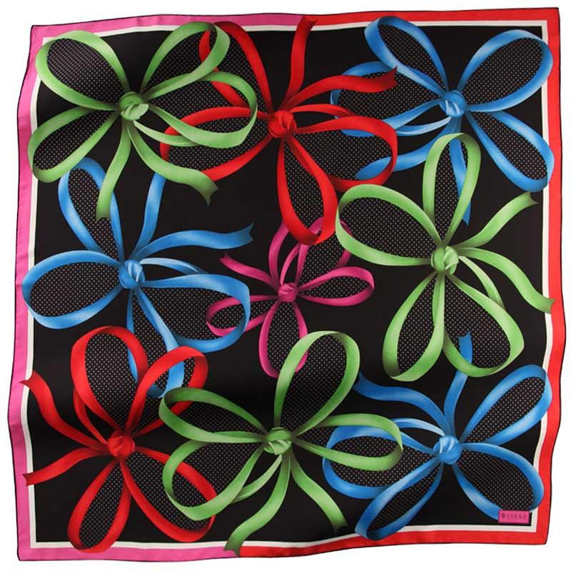 Vakko Eşarp 2012 Modeli Geometrik Çiçek deseni  Siyah